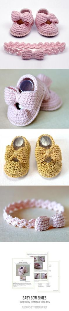 The bow can be cute as an add-on to an octoPIE Crochet Baby Booties Supply : Baby Bow Shoes Crochet Pattern. Crochet Diy, Crochet Bebe, Baby Girl Crochet, Crochet Baby Shoes, Crochet Baby Clothes, Crochet Hats, Crochet Slippers, Headband Crochet, Ravelry Crochet