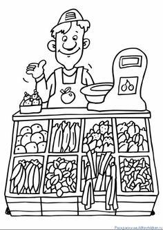 Free grocery shop coloring pages sketch coloring page. Community Workers, Community Helpers, Coloring Pages For Kids, Coloring Sheets, Colouring Pics, Drawing For Kids, Art For Kids, Free Groceries, Art Et Illustration
