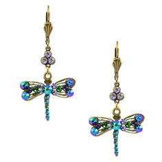 Anne Koplik Dragonfly and Clover Dangle Earrings, Gold Plated -- Awesome products selected by Anna Churchill