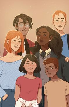 Harry, Gunny, Hermione, Ron, Hugo and Rose