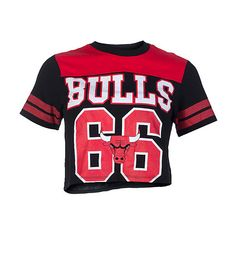NBA 4 HER Cropped Chicago Bulls top Short sleeves Crew neck with ribbed  collar Number 66 4fdc737199