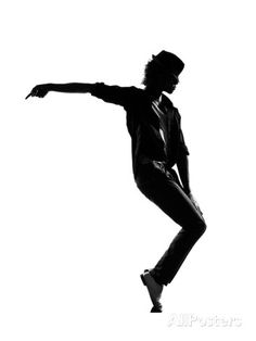 Full Length Silhouette Of A Young Man Dancer Dancing Funky Hip Hop ...