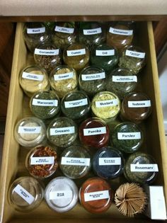 Spice organization and storage using baby food jars.  THIS IS MY ANSWER!  Really dislike my spice cupboard :)