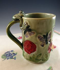 Pottery Mug with Orange Rose Butterflies Frog - Porcelain Coffee Cup - 354