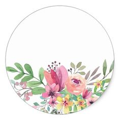 Watercolor Floral Baby Shower Thank You Classic Round Sticker Aquarell-BlumenBabyparty danken Ihnen Runder Aufkleber Frame Floral, Flower Frame, Flower Crown, Watercolor Cards, Watercolor Flowers, Eid Cards, Baby Shower Thank You, Floral Baby Shower, Flower Backgrounds