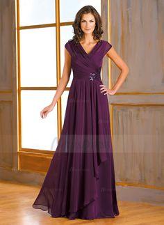 A-Line/Princess V-neck Floor-Length Sequins 30D Chiffon Zipper Up Cap Straps Sleeveless No Grape Spring Summer Fall Mother of the Bride Dress