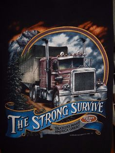 Vintage 90s Truckers Make America Great Shirt Size L The Strong Survive  #3DEmblems #ShortSleeve