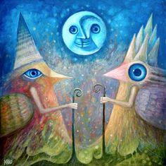 Dream Messengers - oil painting -13 by Leszek Andrzej Kostuj