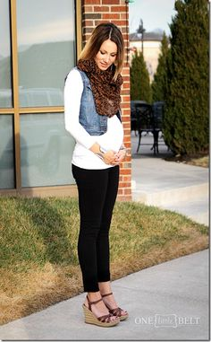 Easy maternity outfit. black pants, denim vest, flat sandals, jacket,  scarf, stripes, sweater, tall boots, wedges, and jeans.