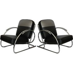 Pair of Streamline Moderne Art Deco Tubular Chrome Chairs  United States  1930's