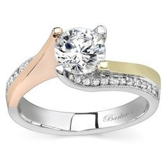 Barkev's 14K Tri Color Gold Round Cut Diamond Tension Twist Prong Set Engagement Ring Featuring 0.14 Carats Round Cut Diamonds Style 7171LPW