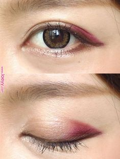 """Talking of autumn, """"Bordeaux""""! Straightforward level make-up that can be utilized proper now ♪ Asian Makeup Looks, Korean Makeup Look, Korean Makeup Tips, Asian Eye Makeup, Blue Eye Makeup, Makeup Eyeshadow, Chinese Makeup, Makeup Trends, Makeup Inspo"""