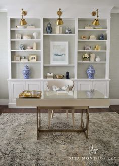 Custom built-ins with adjustable shelves for office organizing. Sita Montgomery Interiors: