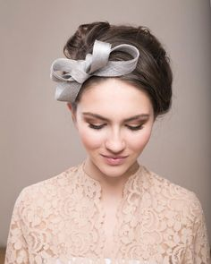Silver bow headpiece, wedding millinery fascinator