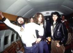 """Led Zeppelin aboard their private jet, """"The Starship""""! Rock And Roll Bands, Rock N Roll, Great Bands, Cool Bands, Hard Rock, Almost Famous Quotes, Robert Plant Led Zeppelin, John Bonham, John Paul Jones"""