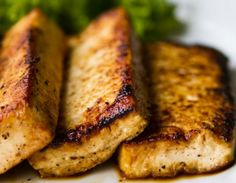 Tofu Steaks over Mashed Cauliflower - a protein packed meal