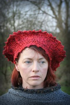 Handcrocheted red textured woman's hat. by Arboresk on Etsy, $68.00