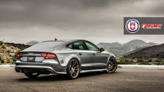 "BimmerBoost - HRE and TAG Motorsports combine for a sexy RS7 - Grey 2014 Audi RS7 lowered on 21"" bronze HRE P44SC rims"