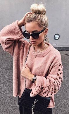 pink lace up sweater + bag + skirt