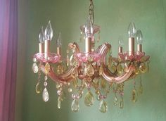 Chandelier Stained Glass and Crystal One of a Kind by queendecor