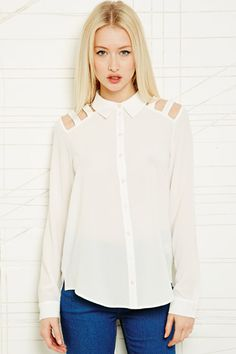 Sparkle & Fade Lattice Shoulder Shirt at Urban Outfitters