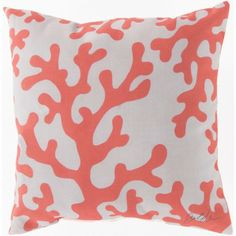 Coral And White Pillow