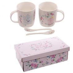 Bone China Double Mugs Floral Bird Cage. Contains: 2 mugs, 2 spoons, gift box