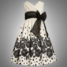 Bonnie Jean TWEEN GIRLS 7-16 IVORY BLACK ROSES and DOTS BORDER PRINT SHANTUNG Special Occasion Wedding Flower Girl Pageant Party Dress  Price:	$53.20