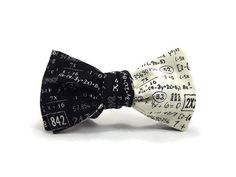 Black and cream reversible bowtie, with numbers and math equations.  Fabric placement will vary ever so slightly, as each is individually made.