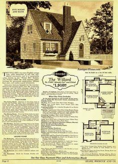 1928 Sears Honor Bilt -The Willard, two-story English cottage type.  Observe the unusual gable over the projecting vestibule, the brick chimney rising at its left. Note, the quaint arched front door, with strap hinges, and old English style lamp hanging above. A flower box is below the double window, just above the lovely green terrace. Batten shutters add to the beauty. Dormer window looks out over shingled roof. The latter has short eaves. The siding, too, is shingled.