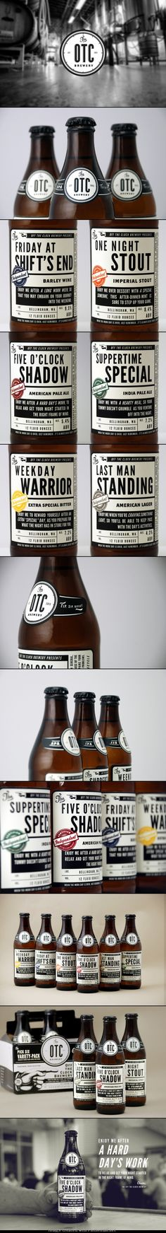"James J. Miller Design was tasked to design the packaging for The OTC Brewery. The OTC, or ""Off the Clock"" Brewery is an independent craft-beer brewing company to be located in Bellingham, WA. Its stark, contrasty design and creative copywriting Vintage Packaging, Beverage Packaging, Bottle Packaging, Coffee Packaging, Craft Beer Brands, Craft Beer Labels, Wine Labels, Food Branding, Food Packaging Design"