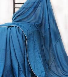 Buy Blue -  Silver Piping done all over georgette saree hand-woven-saree online