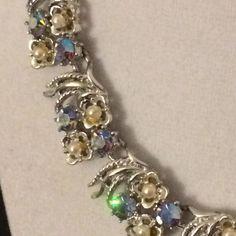 Vintage Signed Coro Peacock Aurora Borealis Rhinestone Faux Pearl Necklace #Coro