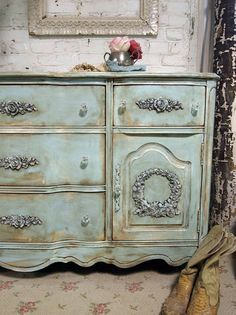French Country, beautiful paint finish. This site shows prices for furniture