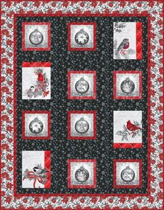 Kit includes Panel Glistening Christmas Kit made with Holiday Flourish by Robert Kaufman coordinating fabrics binding and pattern