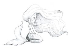 la fiancée au beurre salé young mermaid girl tattoo flash art ~A. Doodle Drawing, Drawing Sketches, Painting & Drawing, Tattoo Sketches, Drawing Ideas, Art Disney, Disney Kunst, Mermaid Drawings, Mermaid Art