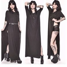 BLACK - VENT-TEE MAXI DRESS long womens dress tunic top shirt tshirt  oversized short 3578b1c5fdda