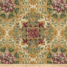 Also comes in red/green Holiday Flourish Metallic Large Medallion Pine Blue from @fabricdotcom  Designed by Peggy Toole for Robert Kaufman, this cotton print fabric is perfect for quilting, apparel and home decor accents. Colors include cream, burgundy, green and gold. Features gold metallic accents throughout.