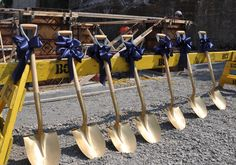 Shovels ready for action at Groundbreaking Ceremony for Walkway Over the Hudson Glass Elevator in Poughkeepsie, NY