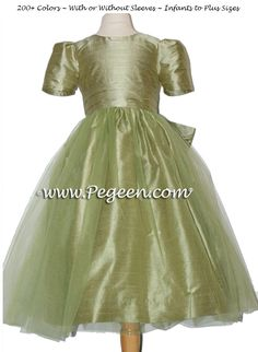 78b16490237 Silk and Tulle Flower Girl Dress in Sage Green Style 394