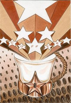 The Stars card from the Coffee Tarot Limited Edition http://Tarot.Coffee
