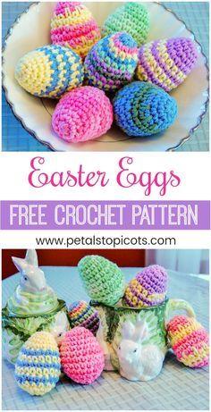 Crochet up a basket full of delightfully colorful eggs for your Easter decor! FREE crochet pattern #petalstopicots #petalstopicotscrochet #p2pFiberArtsCommunity