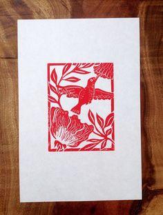 Hummingbird Linocut Block print in dark by ZebraWingStudio on Etsy