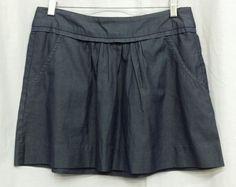 EUC J.CREW SZ 2 Dark Wash Pleated Denim Chambray Jean Skirt 100% Cotton Pockets