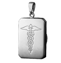 Rectangle Shaped Pendant to discreetly store medical information. If you have a medical condition or allergy it could be vital to let emergency services know. This pendant shows the internationally recognised medical symbol on the front and allows for the storage of important medical information on a waterproof insert stored inside the pendant. Ideal gift for a loved one.