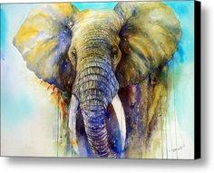 Watercolor Elephant Painting - The Gentle Giant by Arti Chauhan Watercolor Animals, Watercolor Art, Watercolor Portraits, Canvas Art, Canvas Prints, Art Prints, Elephant Art, Animal Paintings, Elephant Paintings