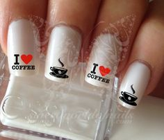 Nail Art I Love Coffee Nail Water Decals Transfers Wraps