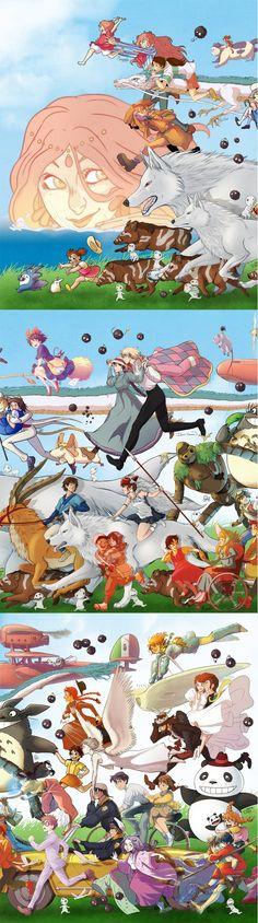 16 Artists Collaborate to Make One Amazing Studio Ghibli Tribute