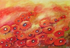 BRIGHT and RED  Original Floral Watercolor Painting by halinapl, $65.00