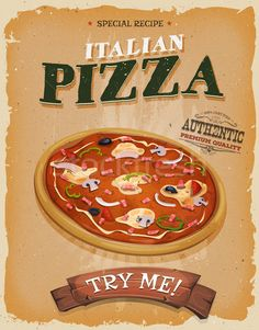 Grunge And Vintage Pizzeria Poster stock photo (c) benchart ( Vintage Italian Posters, Poster Vintage, Grunge, Pizzeria, Chicago Restaurants, Food Labels, Aesthetic Iphone Wallpaper, Disney Food, Special Recipes